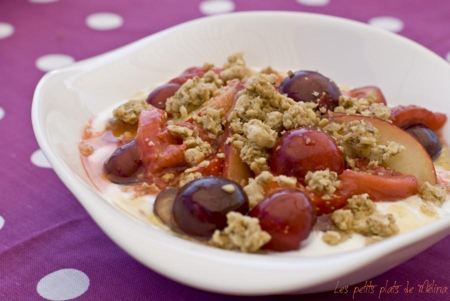 Yaourt grec fruits crus et cuits miel muesli