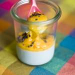 Panacotta au sucre de violette, purée de mangue