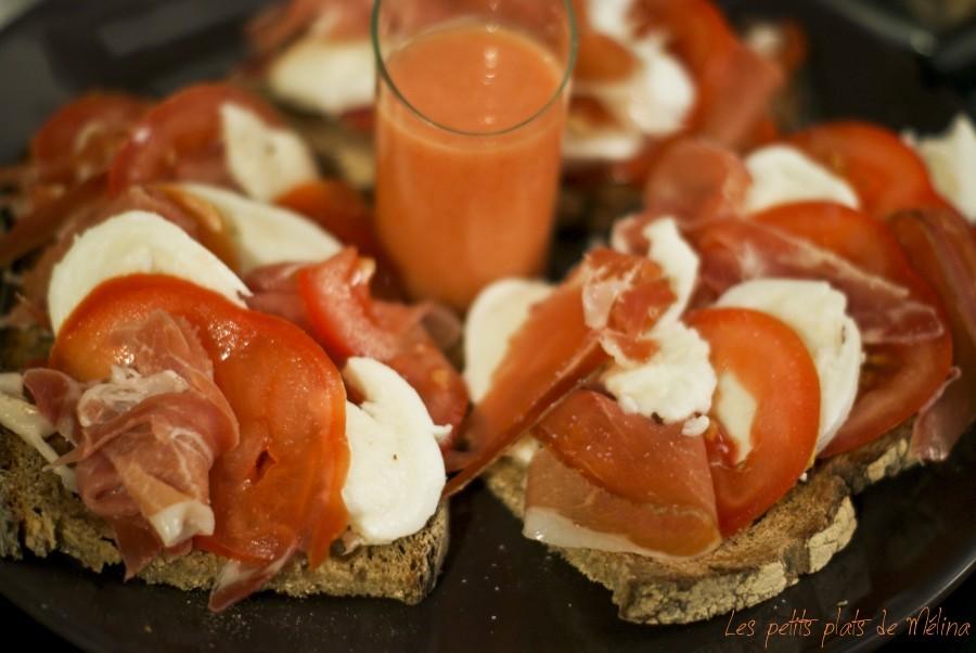 Tartine tomate mozza parme
