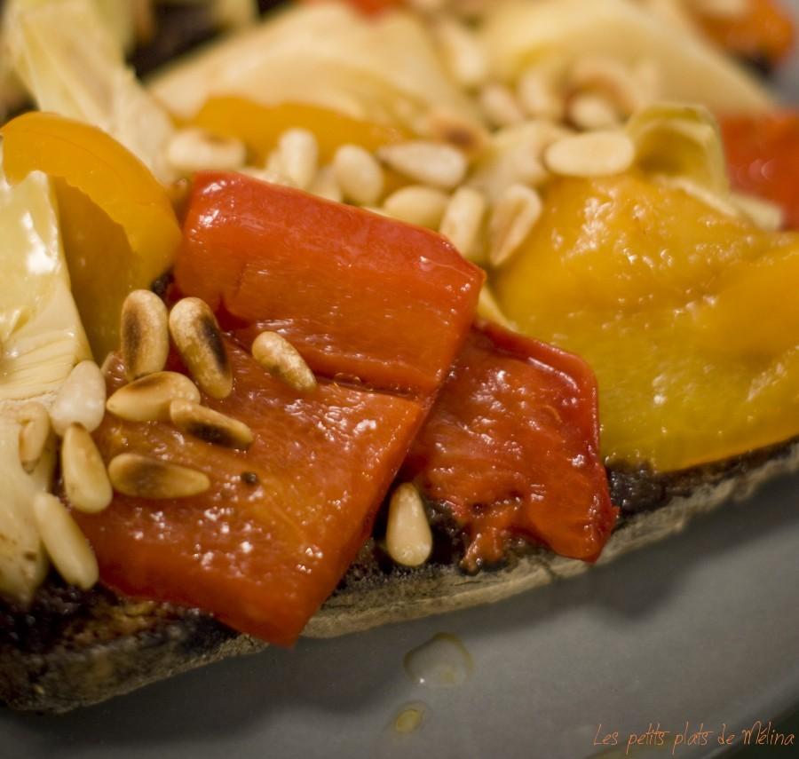 Tartine tapenade légumes marinés