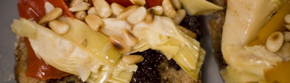 Tartine tapenade légumes marinée