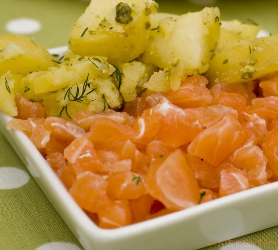 Saumon Gravlax, pommes de terre, pesto de pistaches