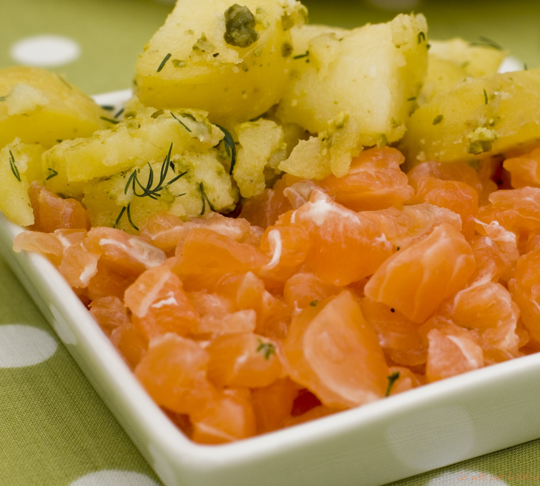 Saumone Gravlax, pommes de terre, pesto de pistaches