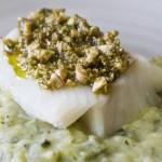 Cabillaud, pesto de pistaches et purée de courgettes au parmesan - Les Petits Plats de Mélina