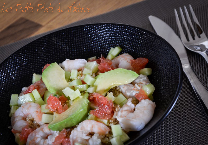 Quinoa avocat, pamplemousse, crevettes - Les Petits Plats de Mélina