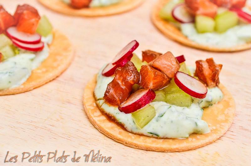 Tartelettes crème roquette aumon radis - Les Petits Plats de Mélina
