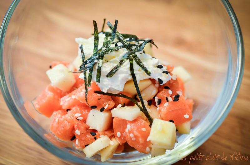 Tartare de saumon, pomme grany, fromage frais, feuilles de nori - Les Petits Plats de Mélina